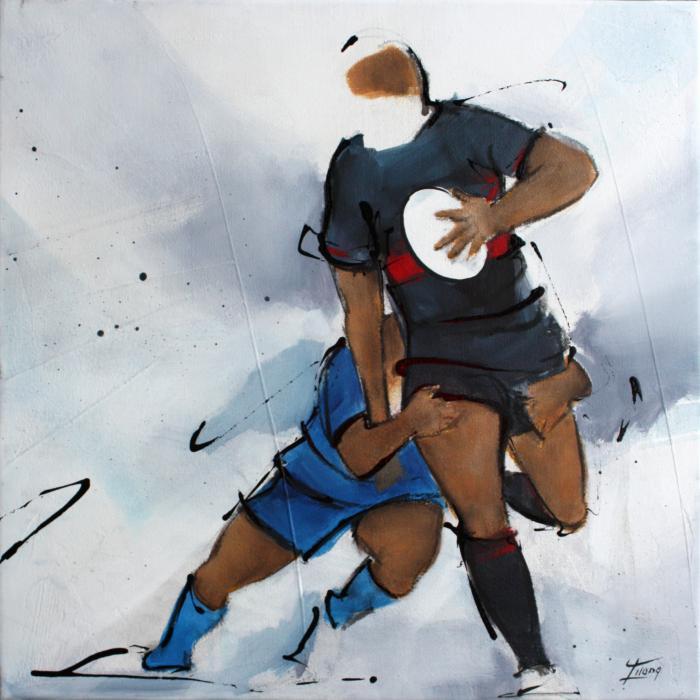 Art SPORT Rugby : Peinture sur toile des ailiers de rugby du Castres olympique (CO) plaquant un joueur du Stade Toulousain à Ernest Wallon