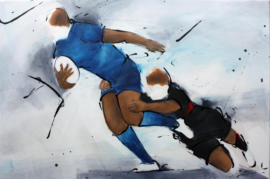 Art SPORT Rugby : Peinture sur toile d'un joueur de rugby du Castres olympique (CO) plaqué par un joueur du Stade Toulousain