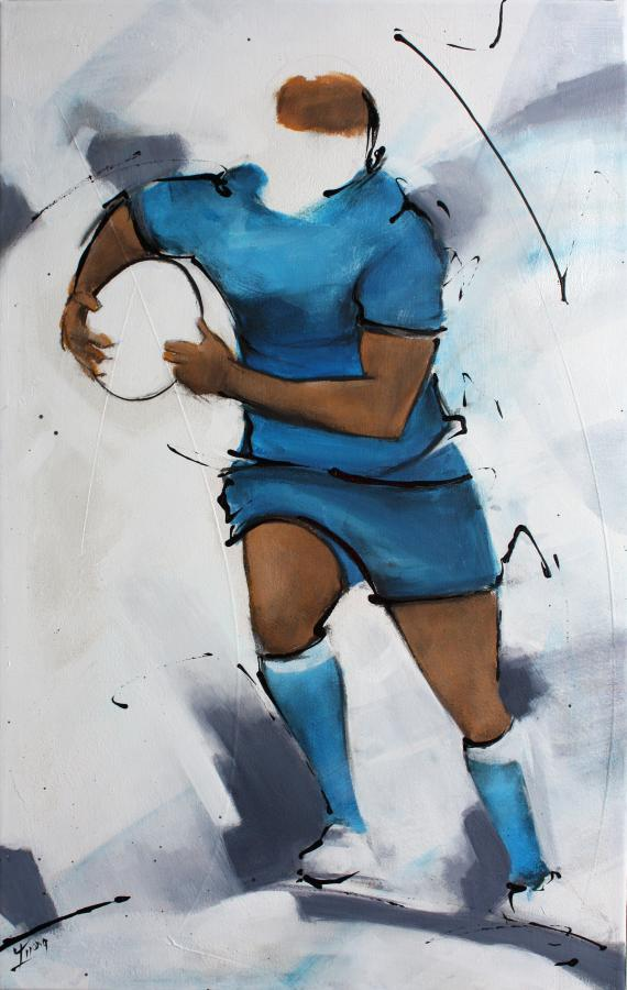 Art SPORT Rugby : Peinture sur toile d'un rugbyman du Castres olympique (CO) sur le stade Pierre Antoine