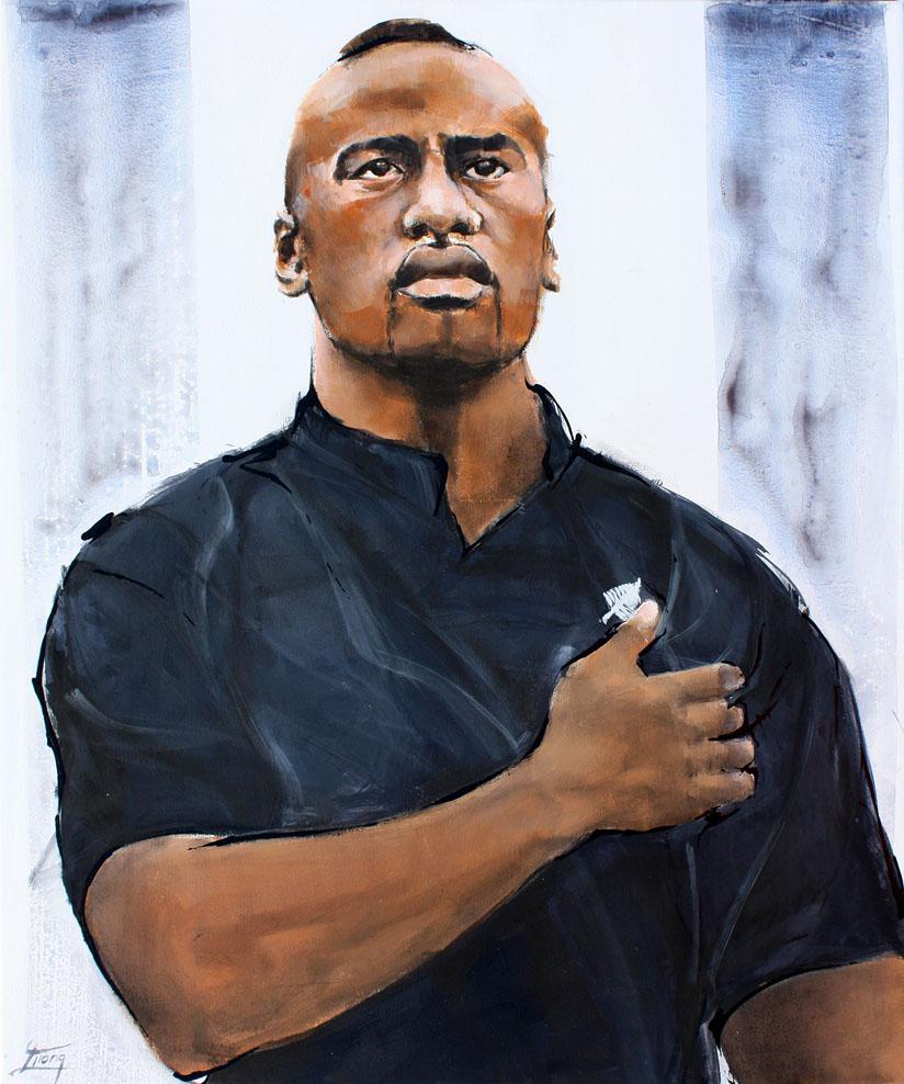 Tableau art sport rugby : Peinture de la légende all blacks jonah lomu par Lucie LLONG
