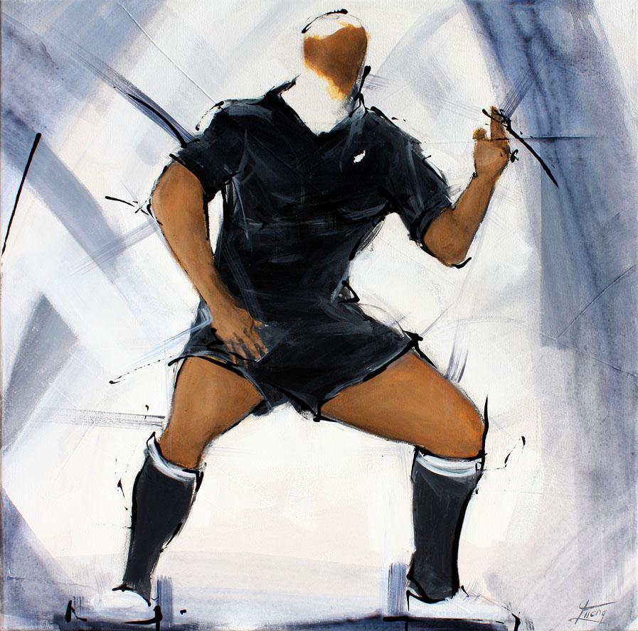 Tableau art sport rugby : Peinture de la légende all blacks jonah lomu pendant le Haka par Lucie LLONG