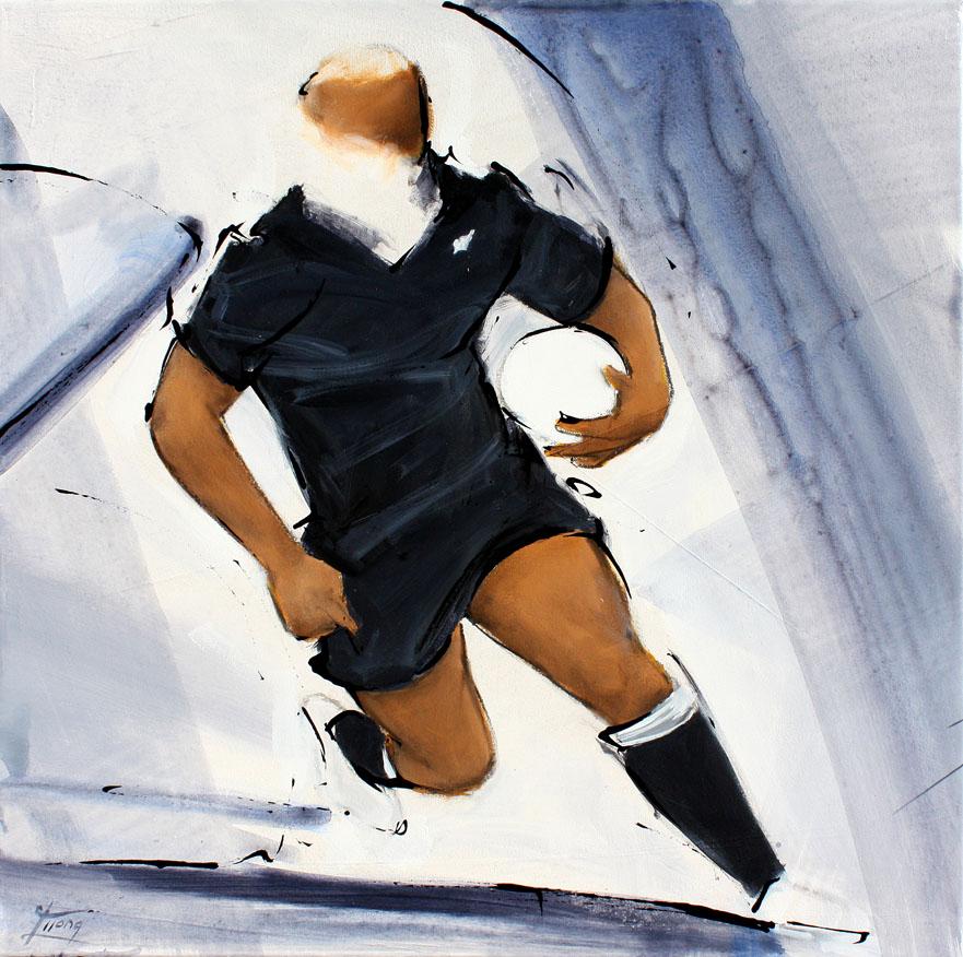 Tableau art sport rugby : Peinture de la légende all blacks jonah lomu pendant un match par Lucie LLONG