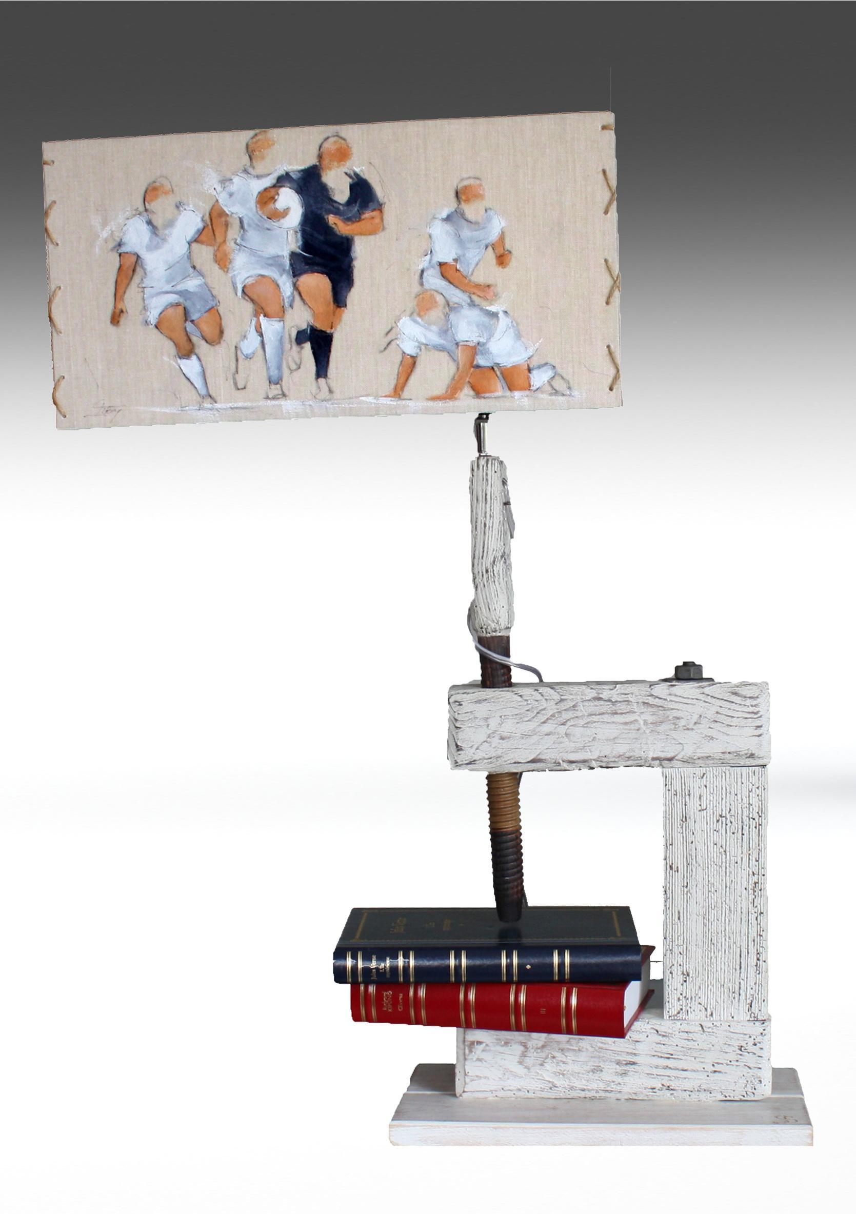 Artisanat d'art SPORT Rugby : Lampe en bois avec un abat-jour sur le rugby et les All Blacks