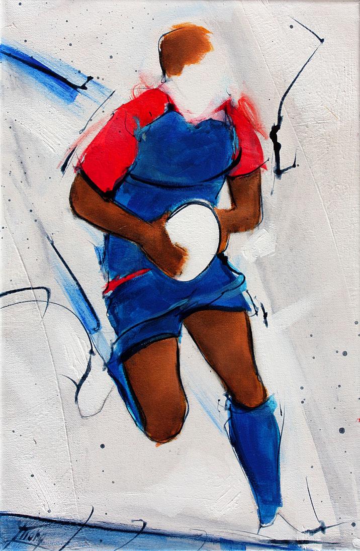 Tableau art sport rugby : Peinture sur toile FCG lors d'un match de TOP 14