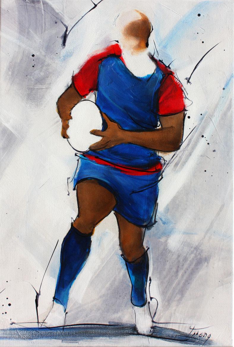 Tableau art sport rugby : Peinture sur toile du FCG lors d'un match de TOP 14