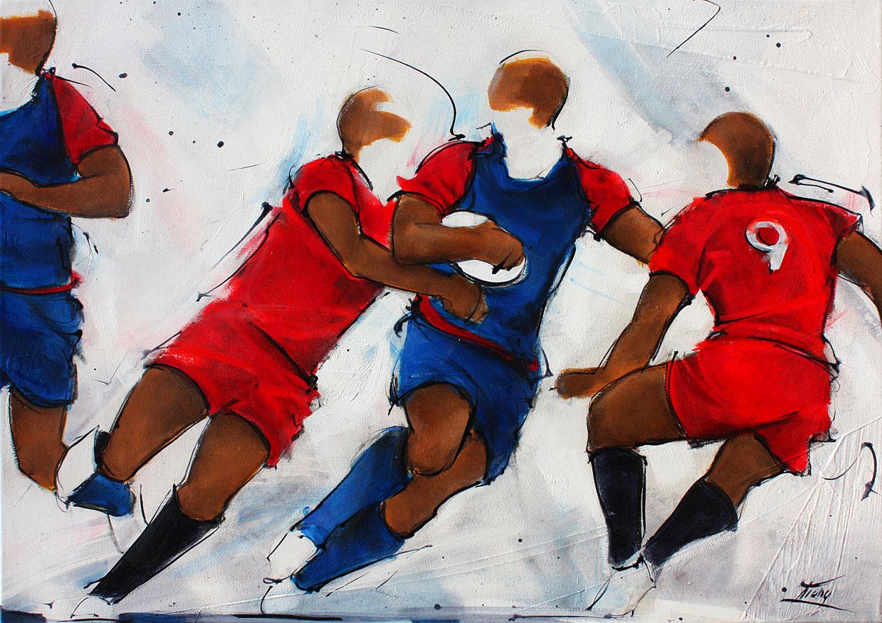 Tableau art sport collectif rugby : Peinture sur toile entre le FCG rugby et le RCT