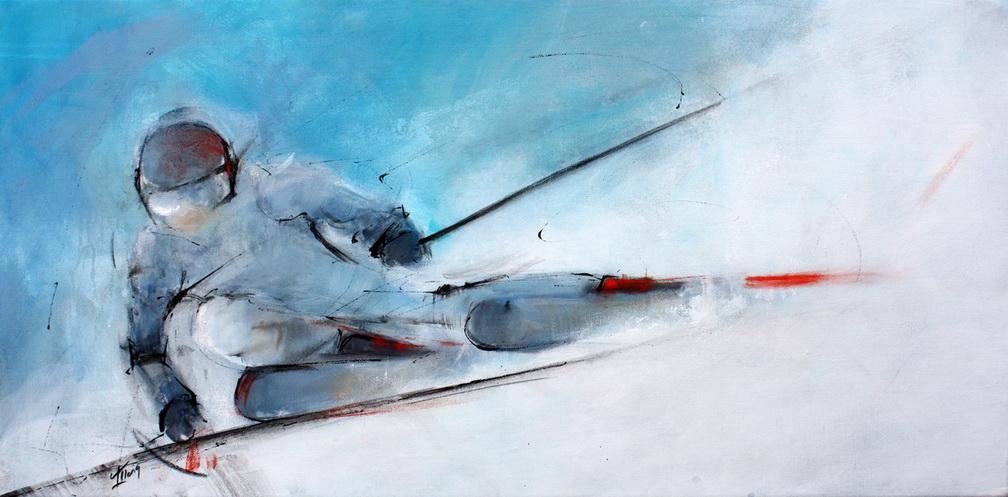 Tableau art sport de glisse ski alpin de piste : Peinture sur toile d'une descente rapide à ski