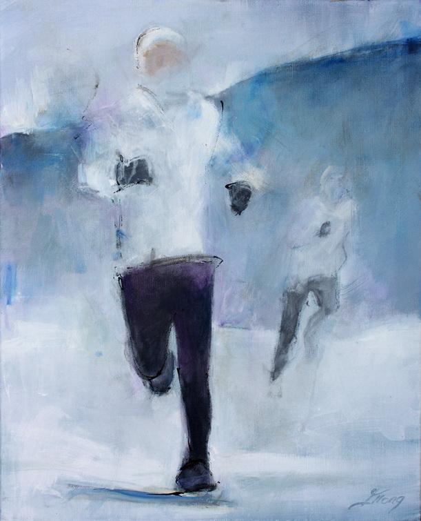 Art sport course à pied trail : Peinture sur toile d'un coureur de trail