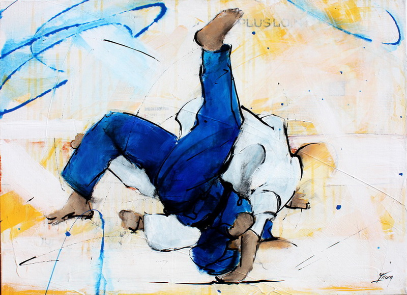 judo painting : judoka fight for world title by Lucie LLONG, artist of movement and sport