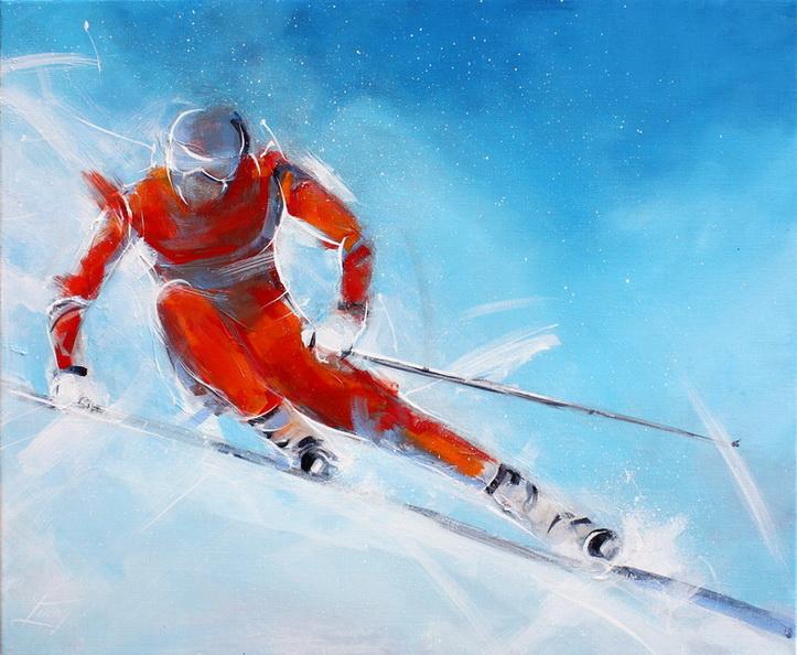 Tableau art sport de glisse ski alpin de piste : Peinture sur toile d'une descente en ski de piste d'un skieur en mouvement