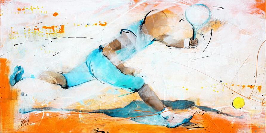 Tableau art sport tennis : Peinture sur toile représentant un match de tennis sur terre battue avec Rafael Nadal