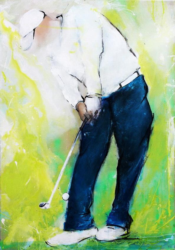 Art sport golf : Peinture sur toile d'un joueur de Golf réalisant un coup d'approche