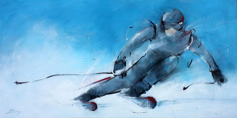 Tableau Art sport de glisse ski alpin de piste : Peinture sur toile d'un skieur faisant un virage dans la poudreuse