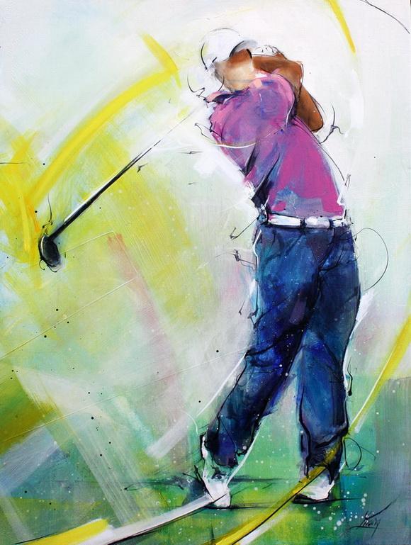 Tableau art sport golf : peinture sur toile d'un golfeur en mouvementutilsant son driver