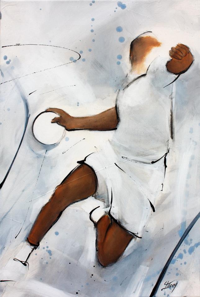 Tableau art sport collectif handball : Peinture sur toile d'un joueur de handball en extension pour marquer