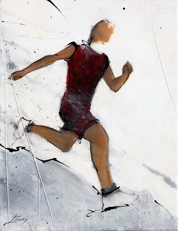 Art sport running : Peinture sur toile d'un coureur de course à pied lors d'un trail