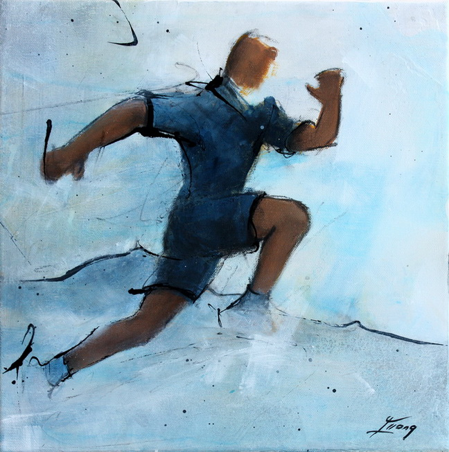 Art sport course à pied running: Peinture sur toile d'un coureur sur un trail dans la chaîne des puys (Puy de dôme)