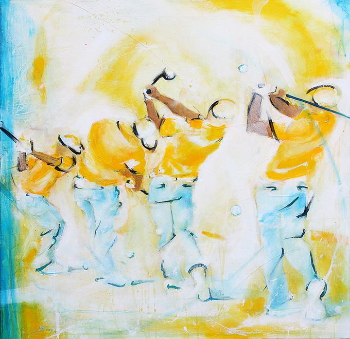 Tbaleau art sport golf : Peinture sur toile d'un swing parfait sur un parcours de golf par un golfeur expérimenté