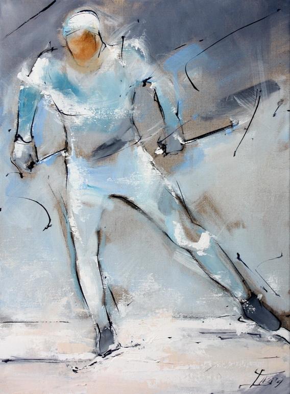 Tableau art sport de glisse ski de fond biathlon : Peinture sur toile d'un skieur de fond en ski nordique