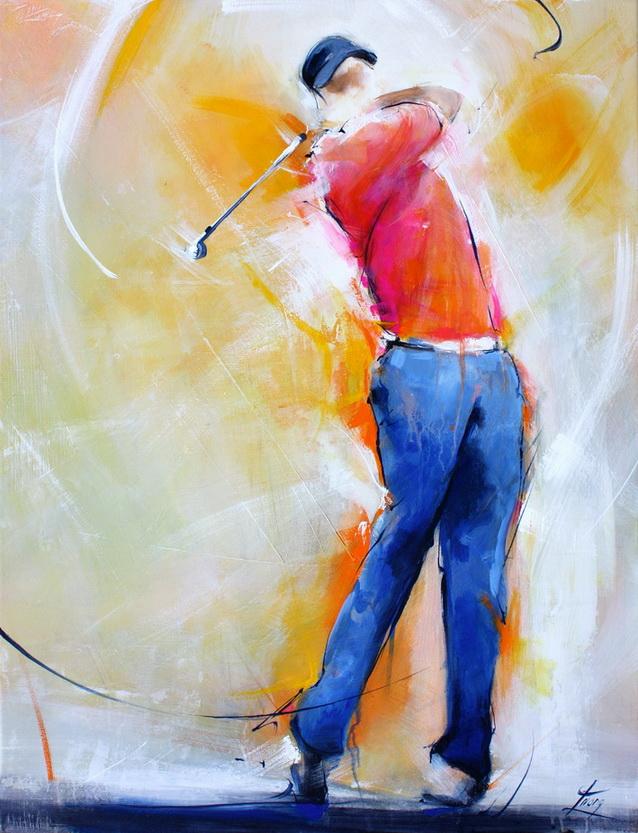 Tableau art sport golf : Peinture sur toile d'un golfeur en mouvement réalisant un swing