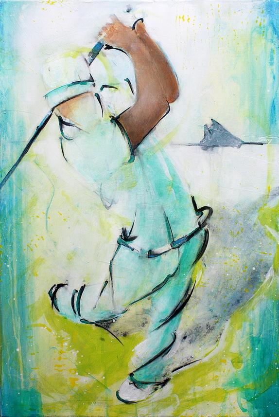 Art sport golf : peinture sur toile d'un joueur de golf lors de la king's cup de Dubaï