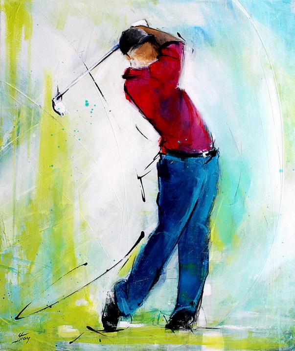Art tableau sport golf : Peinture sur toile représentant un golfeur en mouvement sur un parcours