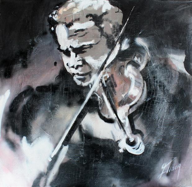 Tableau Art Musique violoniste : Peinture sur toile d'un musicien violoniste et de son violon