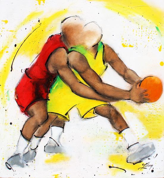 Art rteam sport basketball: Painting on canvas on basketball