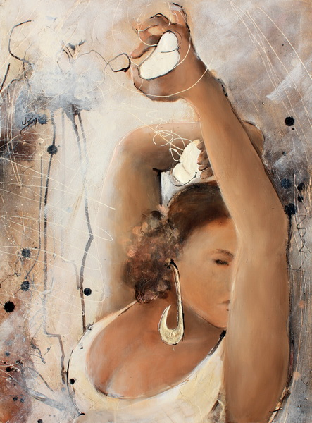 Alt : Peinture sur toile d'une danseuse de Flamenco rythmant ses pas avec des castanuelas