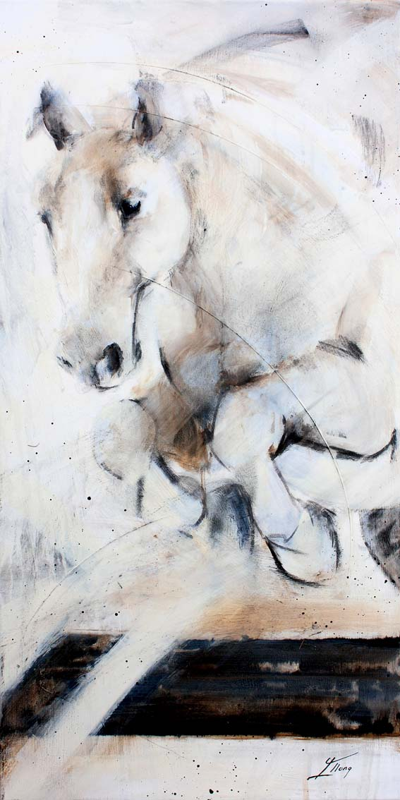 Art chevaux : Peinture sur toile d'un cheval sautant une barre de CSO