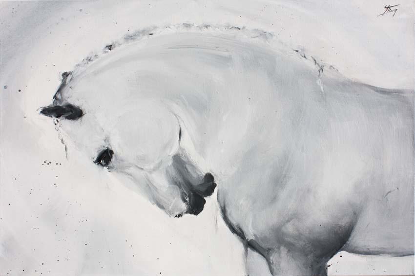 Art chevaux : Peinture sur toile d' un magnifique cheval camarguais au dressage