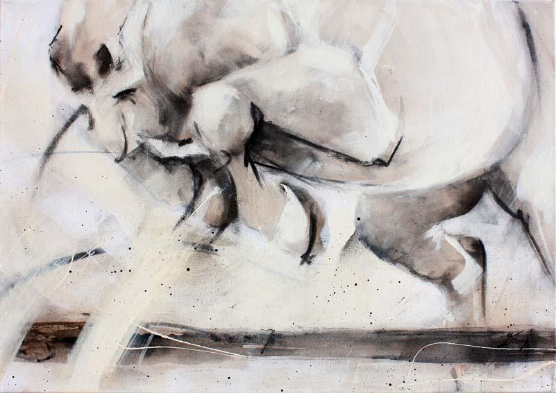 Art chevaux : Peinture sur toile d'un cheval sautant une barre de CSO lors d'un concours