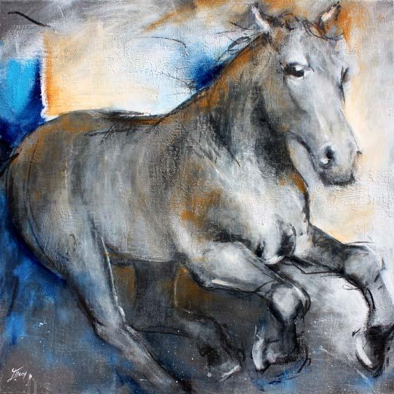 Art chevaux : Peinture sur toile d' un cheval au galop