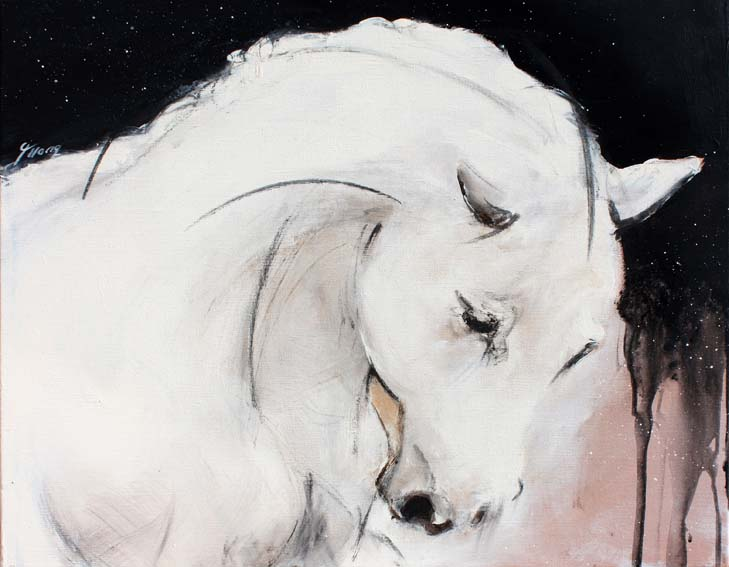 Art chevaux : Peinture sur toile d' un cheval