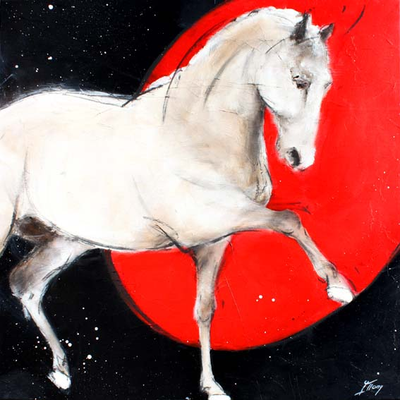 Art chevaux : Peinture sur toile d' un magnifique étalon