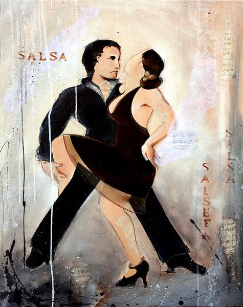 Art danse : Peinture sur toile d'un couple de danseurs de salsa