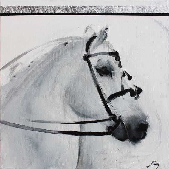 Art chevaux : Peinture sur toile d' un magnifique cheval de dressage andalou