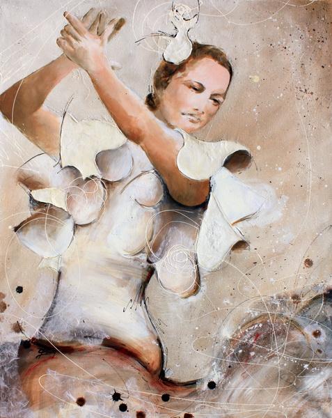 Art : Peinture sur toile d'une danseuse de flamenco