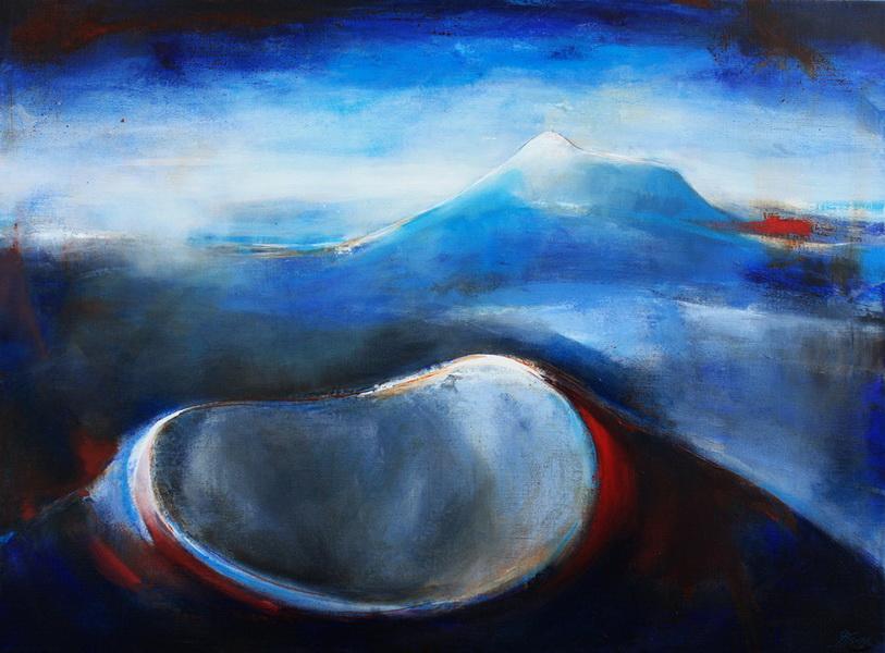 Art Paysage : Peinture sur toile des volcans Puy Pariou et Puy de Dome dans la chaine des puys en auvergne prés de Clermont Ferrand