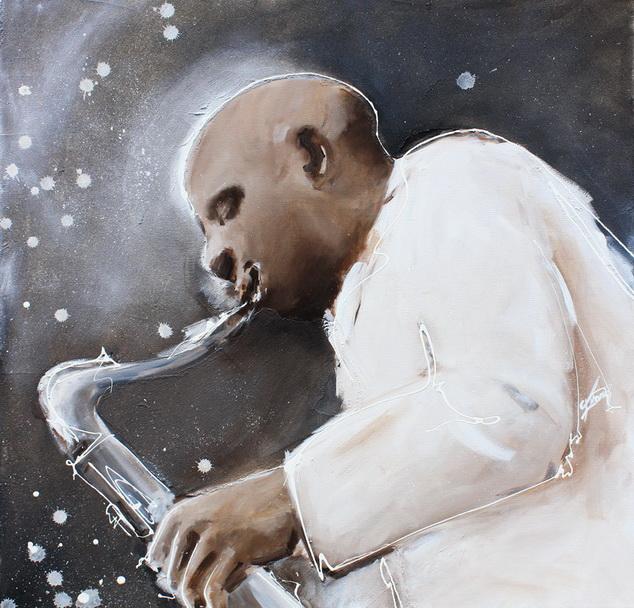 tableau Art Musique Jazz musicien : Peinture sur toile d'un saxophoniste talentueux