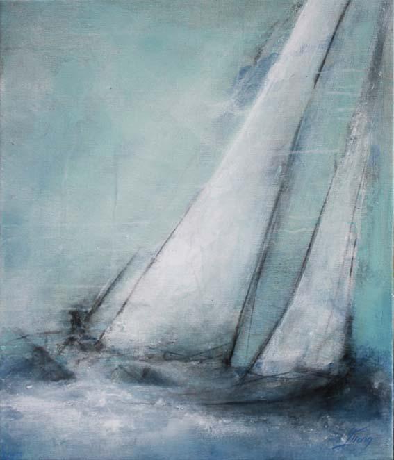 Art tableau Paysage mer regate : peinture sur toile d'un voilier quittant le port pour un ballade en Mer Méditérranée