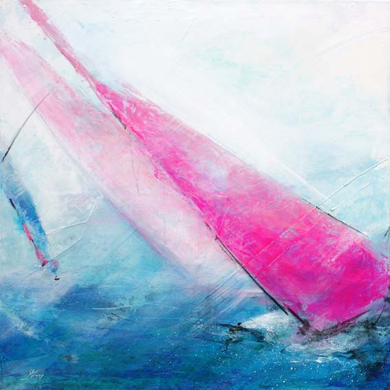 Art sport and sailing painting : yachts race across north atlantic
