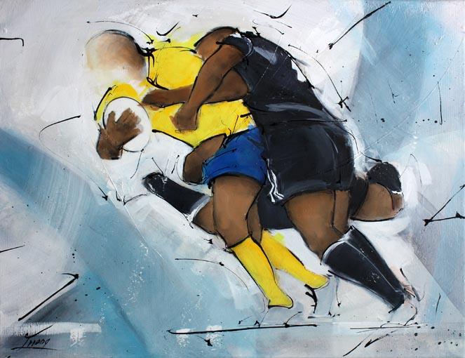 Art tableau sport rugby : peinture sur toile d'un match de rugby entre le CAB brive corrèze et l'asm clermont auvergne lors du derby du massif central