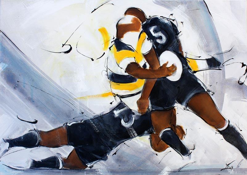 Art tableau sport rugby : Peinture sur toile d'un match de rugby entre le CAB -brive la gauillarde et le stade rochelais de la Rochelle TOP14