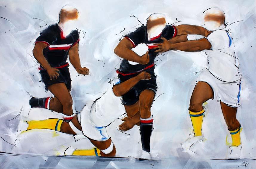 Art sport rugby : Peinture sur toile d'un match de rugby entre le stade toulousain et l'asm clermont auvergne au stade michelin