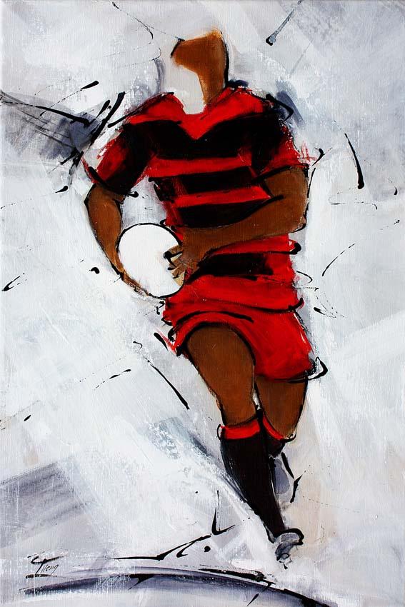 Art sport rugby : Peinture sur toile d'un joueur de rugby d'Ussel en corrèze