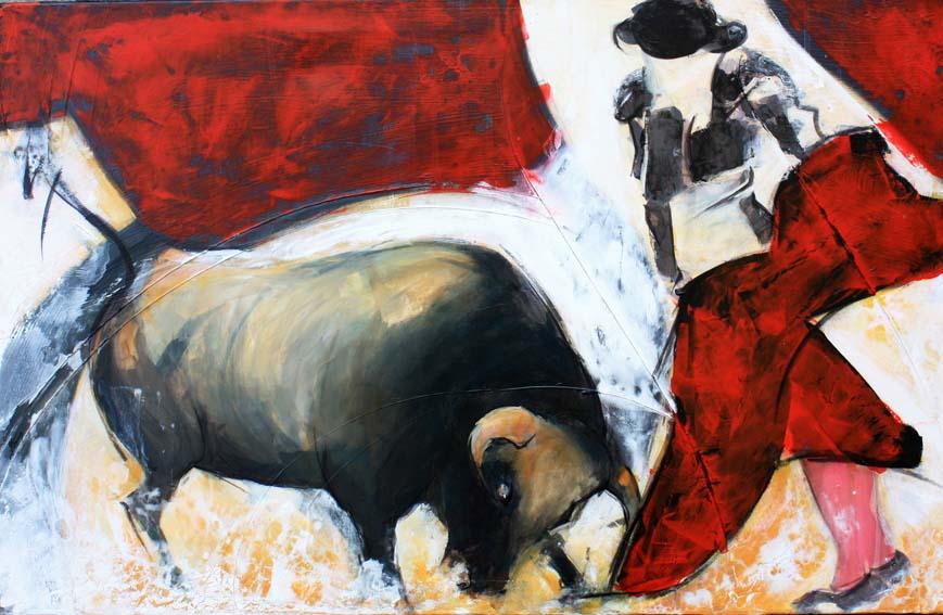 Art Tauromachie corrida : Peinture sur toile d'un torero face au taureau dans les arènes de Nîmes lors du troisième tercio