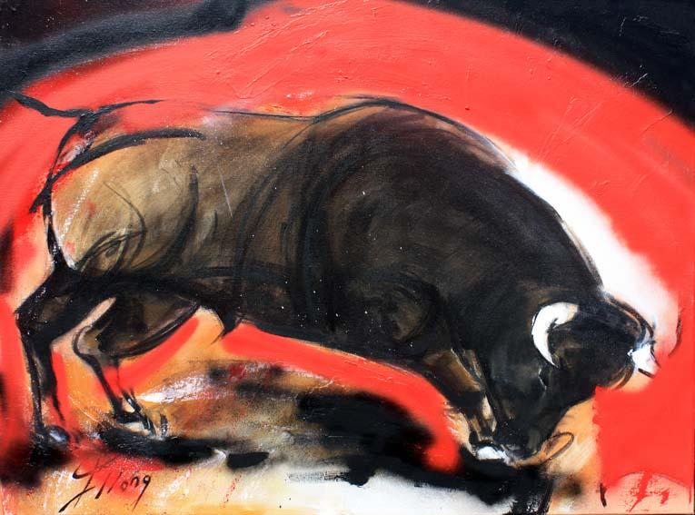 Art Tauromachie corrida : Peinture sur toile d'un taureau dans l'arène