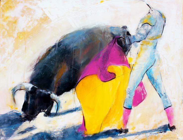 Art Tauromachie corrida : Peinture sur toile du combat entre un torero et un taureau dans l'arène