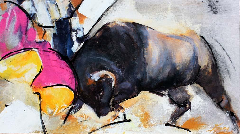 Art tableau Tauromachie corrida : Peinture d'un torero face au taureau dans l'arène